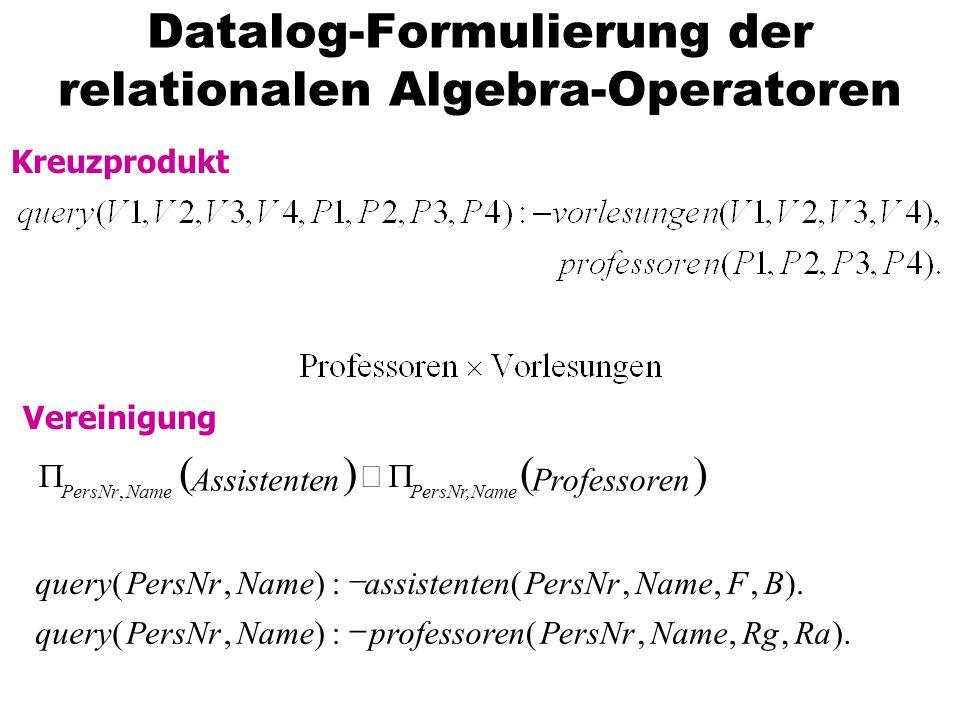 Datalog-Formulierung der relationalen Algebra-Operatoren Kreuzprodukt Vereinigung ).,,,(:),(,,,(:),(, RaRgNamePersNrnprofessoreNamePersNrquery BFNameP