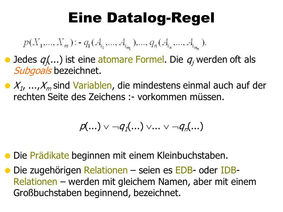 Beispiel Datalog-Programm Zur Bestimmung von (thematisch) verwandten Vorlesungspaaren geschwisterVorl(N 1, N 2) :- voraussetzen(V, N 1), voraussetzen(V, N 2)), N 1 < N 2.
