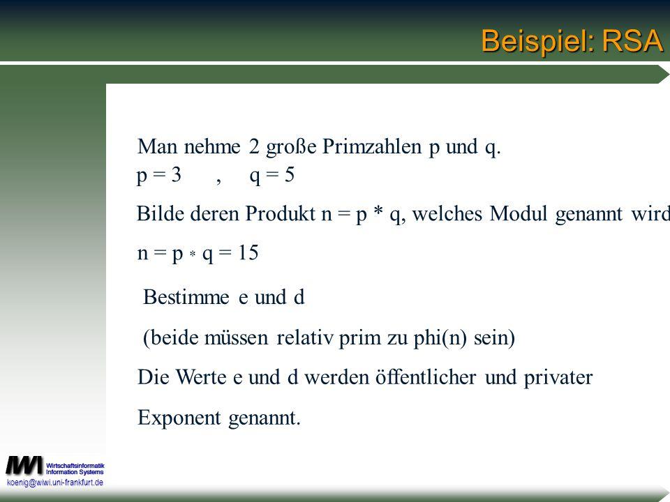 koenig@wiwi.uni-frankfurt.de Beispiel: RSA Man nehme 2 große Primzahlen p und q. p = 3, q = 5 Bilde deren Produkt n = p * q, welches Modul genannt wir
