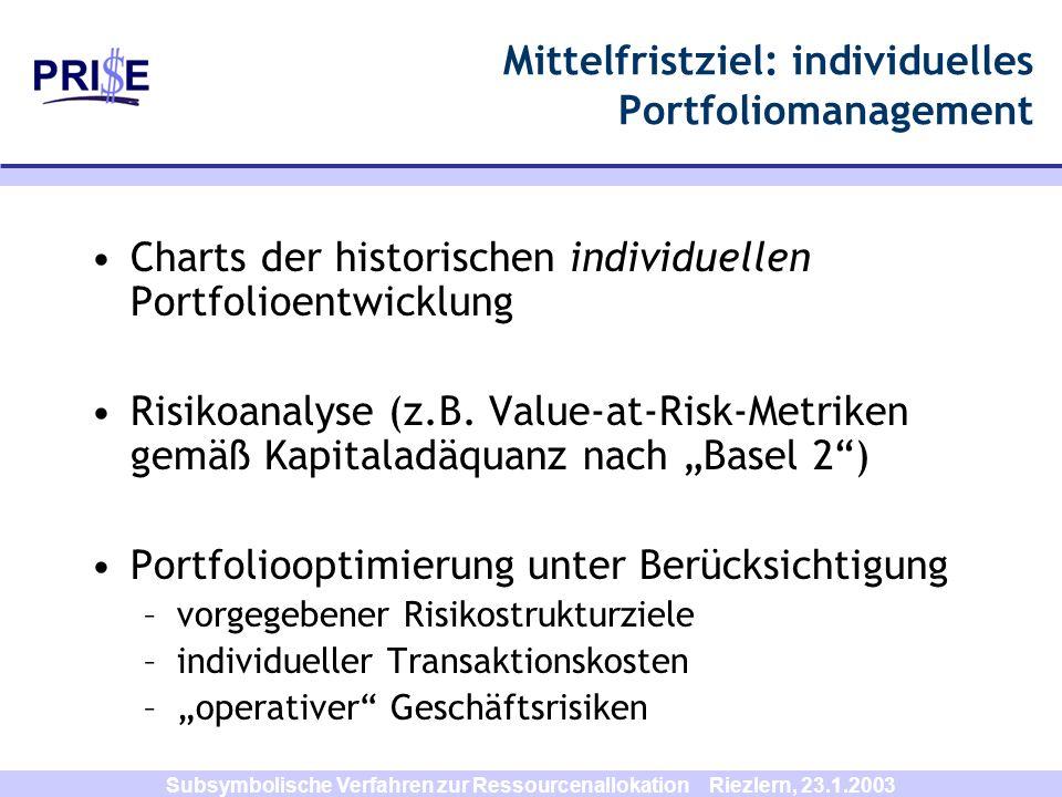 Subsymbolische Verfahren zur Ressourcenallokation Riezlern, 23.1.2003 Mittelfristziel: individuelles Portfoliomanagement Charts der historischen indiv