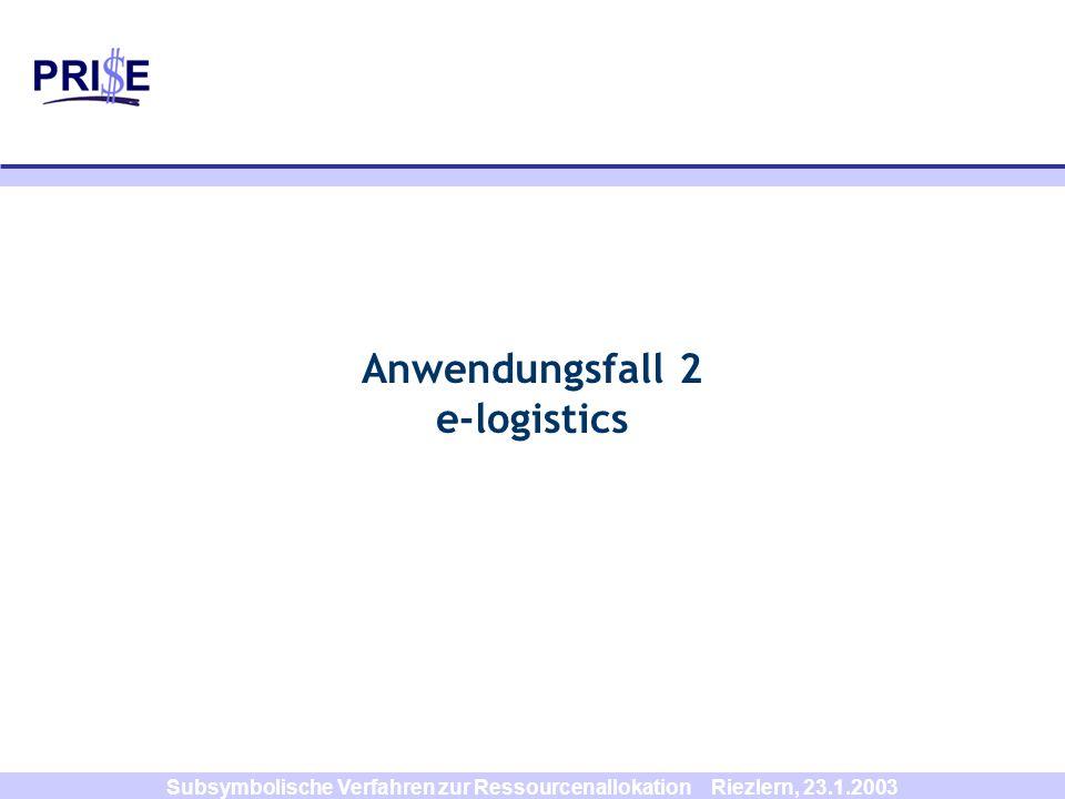 Subsymbolische Verfahren zur Ressourcenallokation Riezlern, 23.1.2003 Anwendungsfall 2 e-logistics