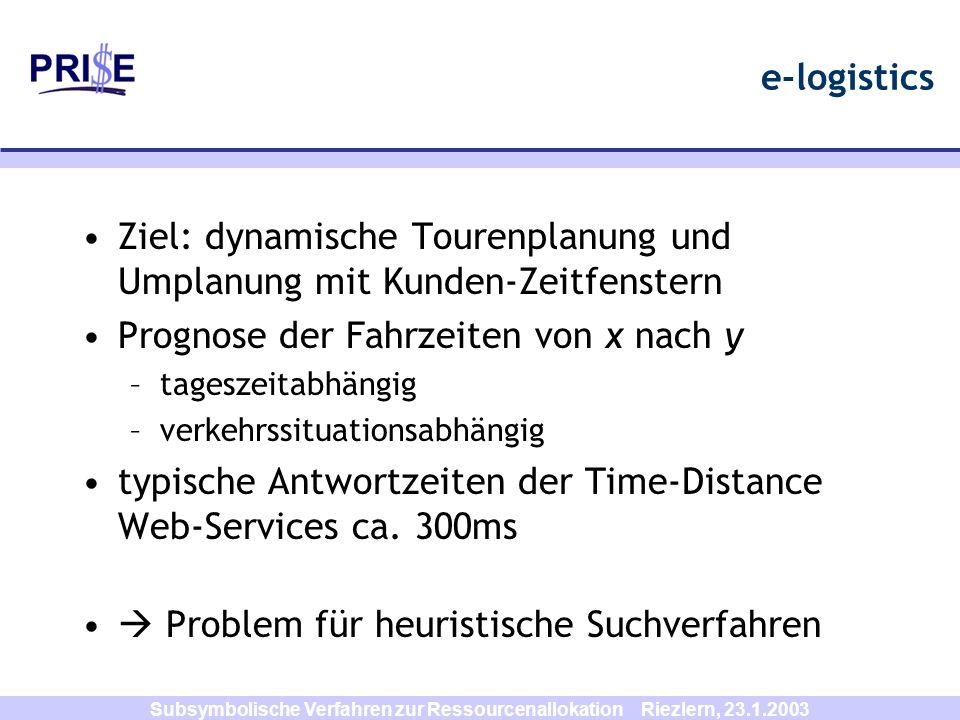 Subsymbolische Verfahren zur Ressourcenallokation Riezlern, 23.1.2003 e-logistics Ziel: dynamische Tourenplanung und Umplanung mit Kunden-Zeitfenstern