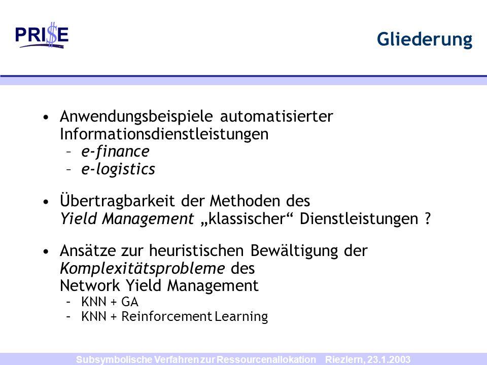 Subsymbolische Verfahren zur Ressourcenallokation Riezlern, 23.1.2003 Reinforcement Learning agent environment action a r reward rstate s r t+1 s t+1 Ziel des RL-Agenten: Maximierung der Summe von Reinforcement-Signalen (long run!!)