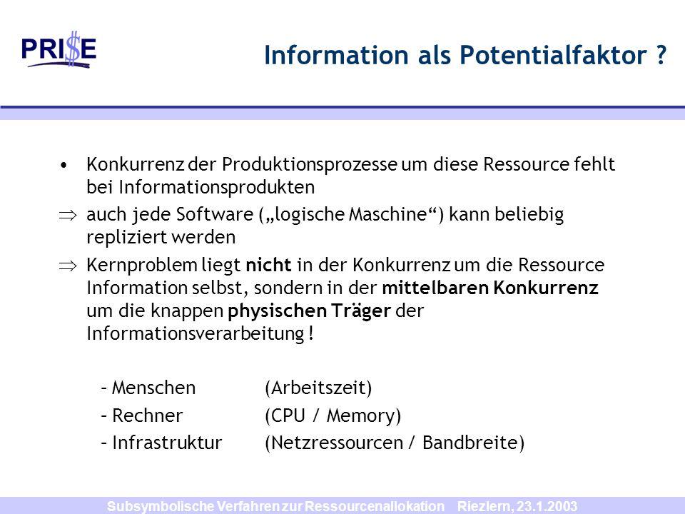 Subsymbolische Verfahren zur Ressourcenallokation Riezlern, 23.1.2003 Information als Potentialfaktor ? Konkurrenz der Produktionsprozesse um diese Re