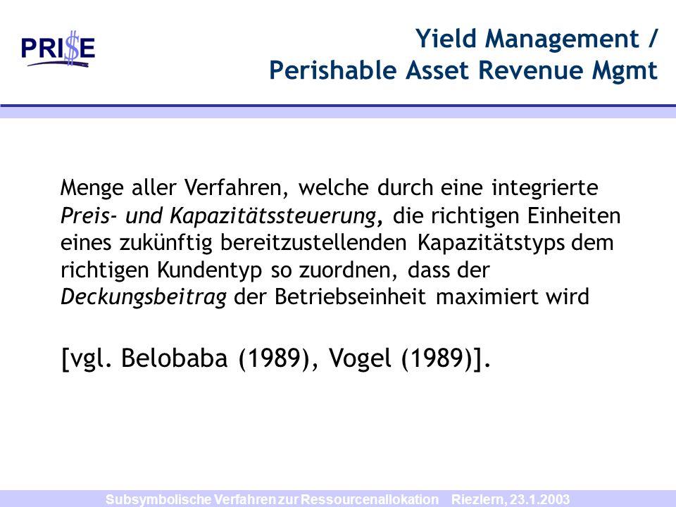 Subsymbolische Verfahren zur Ressourcenallokation Riezlern, 23.1.2003 Menge aller Verfahren, welche durch eine integrierte Preis- und Kapazitätssteuer
