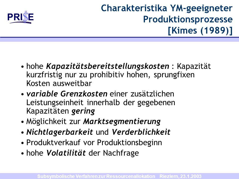 Subsymbolische Verfahren zur Ressourcenallokation Riezlern, 23.1.2003 Charakteristika YM-geeigneter Produktionsprozesse [Kimes (1989)] hohe Kapazitäts