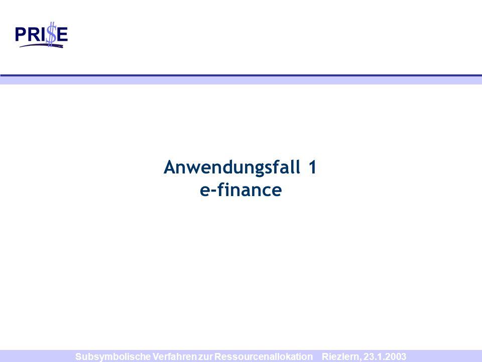 Subsymbolische Verfahren zur Ressourcenallokation Riezlern, 23.1.2003 Mittelfristziel: individuelles Portfoliomanagement Charts der historischen individuellen Portfolioentwicklung Risikoanalyse (z.B.