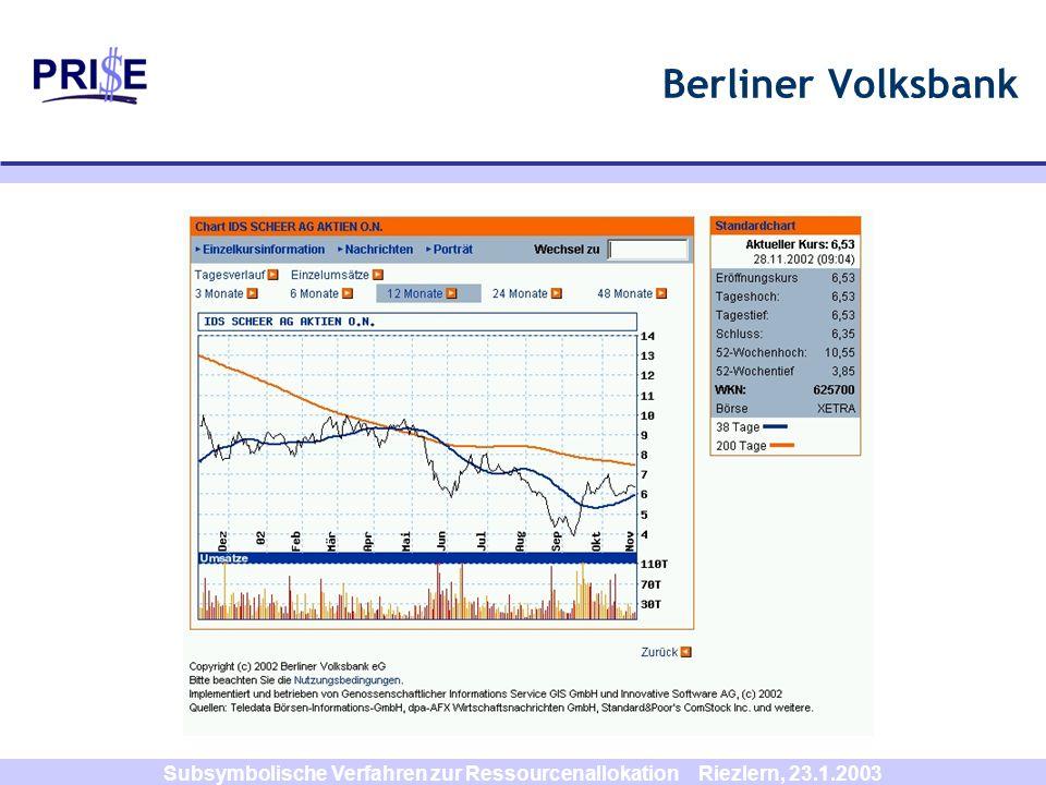 Subsymbolische Verfahren zur Ressourcenallokation Riezlern, 23.1.2003 Berliner Volksbank