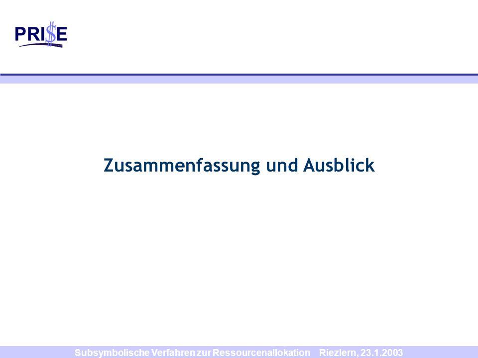 Subsymbolische Verfahren zur Ressourcenallokation Riezlern, 23.1.2003 Zusammenfassung und Ausblick