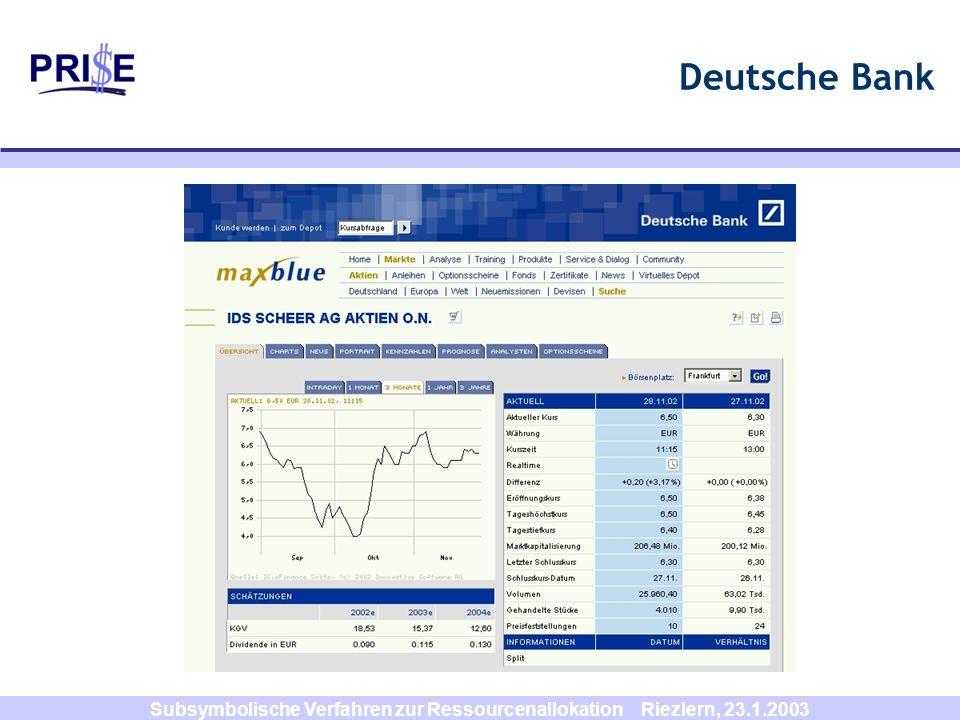 Subsymbolische Verfahren zur Ressourcenallokation Riezlern, 23.1.2003 Ausblick Einsatz in DISPOWEB-Verhandlungsprotokollen für Softwareagenten alternative Zustandsraumkompression (z.B.