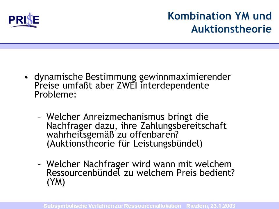 Subsymbolische Verfahren zur Ressourcenallokation Riezlern, 23.1.2003 Kombination YM und Auktionstheorie dynamische Bestimmung gewinnmaximierender Pre