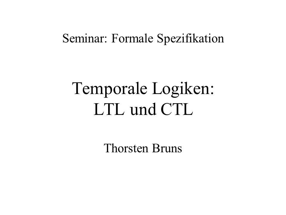2 Inhalt Motivation Grundlagen der Logik –Aussagen- und Prädikatenlogik –Entscheidbarkeit von Logiken Temporale Logiken –LTL –CTL –Anwendung: CTL Model Checking Zusammenfassung