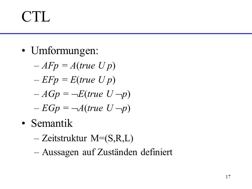 17 CTL Umformungen: –AFp = A(true U p) –EFp = E(true U p) –AGp = E(true U p) –EGp = A(true U p) Semantik –Zeitstruktur M=(S,R,L) –Aussagen auf Zuständen definiert