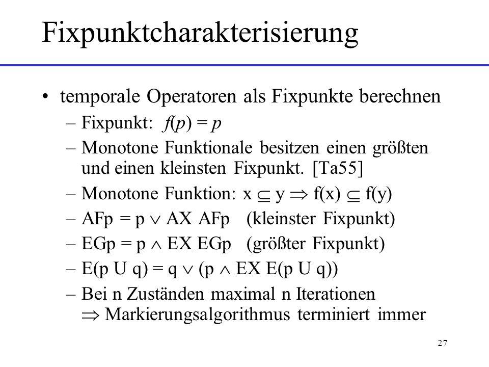 27 Fixpunktcharakterisierung temporale Operatoren als Fixpunkte berechnen –Fixpunkt: f(p) = p –Monotone Funktionale besitzen einen größten und einen kleinsten Fixpunkt.