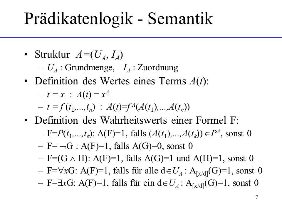 8 Entscheidbarkeit von Logiken Entscheidbarkeit: Es gibt einen Algorithmus, der in endlicher Zeit feststellt, ob eine Formel erfüllbar ist oder nicht Aussagenlogik: Belegungstabelle Prädikatenlogik: unentscheidbar –Strukturen mit unendlichen Mengen –Beweis: Rückführung auf das Postsche Korrespondenzproblem