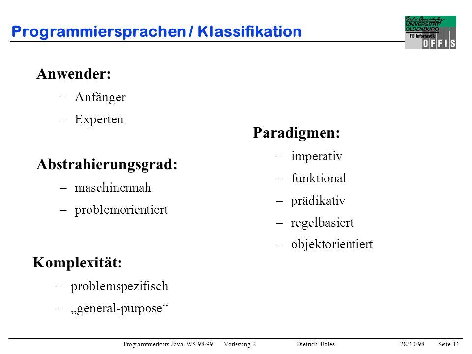 Programmierkurs Java WS 98/99 Vorlesung 2 Dietrich Boles 28/10/98Seite 11 Programmiersprachen / Klassifikation Anwender: –Anfänger –Experten Paradigme
