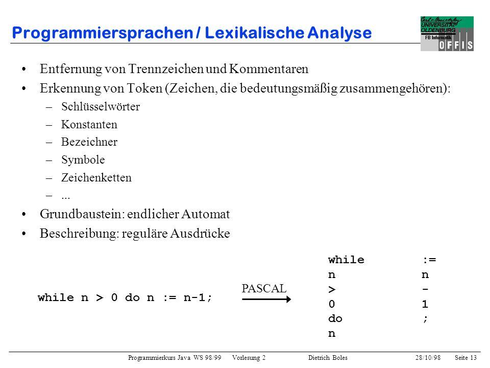 Programmierkurs Java WS 98/99 Vorlesung 2 Dietrich Boles 28/10/98Seite 13 Programmiersprachen / Lexikalische Analyse Entfernung von Trennzeichen und K
