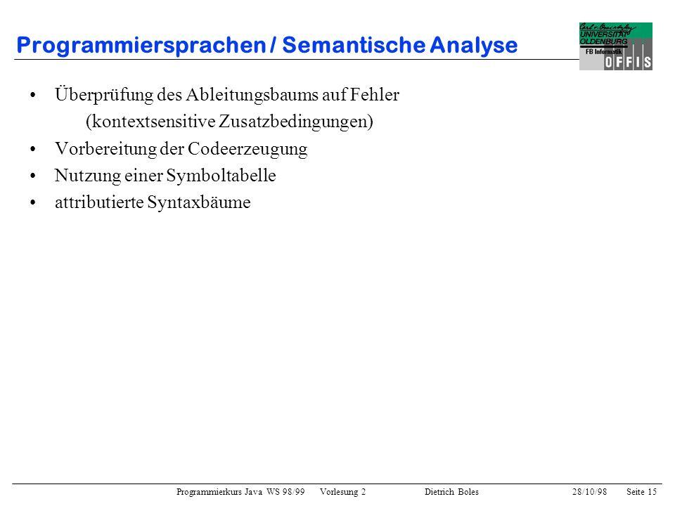 Programmierkurs Java WS 98/99 Vorlesung 2 Dietrich Boles 28/10/98Seite 15 Programmiersprachen / Semantische Analyse Überprüfung des Ableitungsbaums au