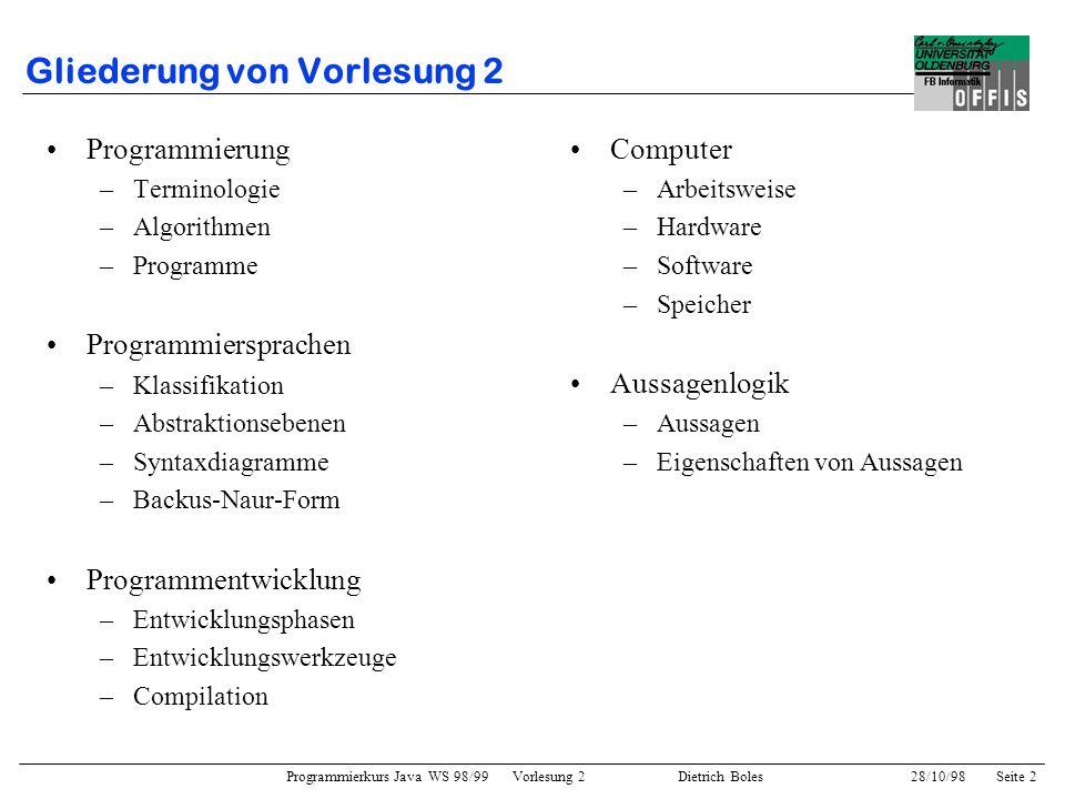 Programmierkurs Java WS 98/99 Vorlesung 2 Dietrich Boles 28/10/98Seite 2 Gliederung von Vorlesung 2 Programmierung –Terminologie –Algorithmen –Program