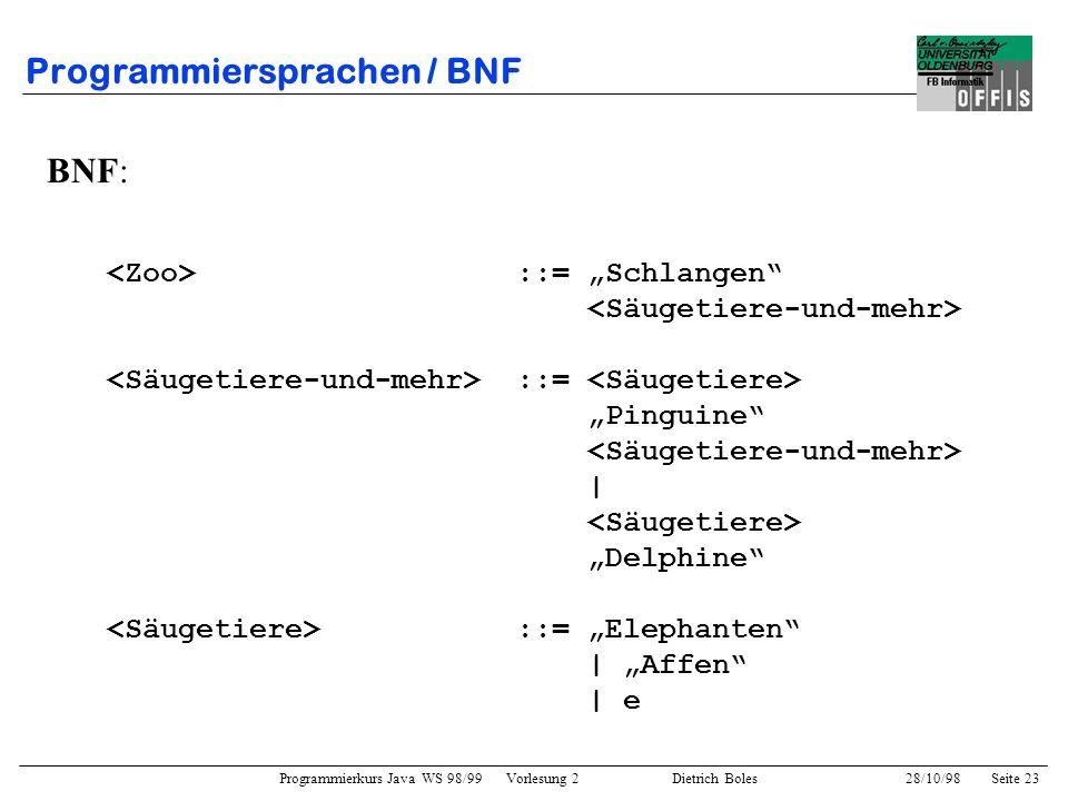 Programmierkurs Java WS 98/99 Vorlesung 2 Dietrich Boles 28/10/98Seite 23 Programmiersprachen / BNF BNF: ::= Schlangen ::= Pinguine | Delphine ::= Ele
