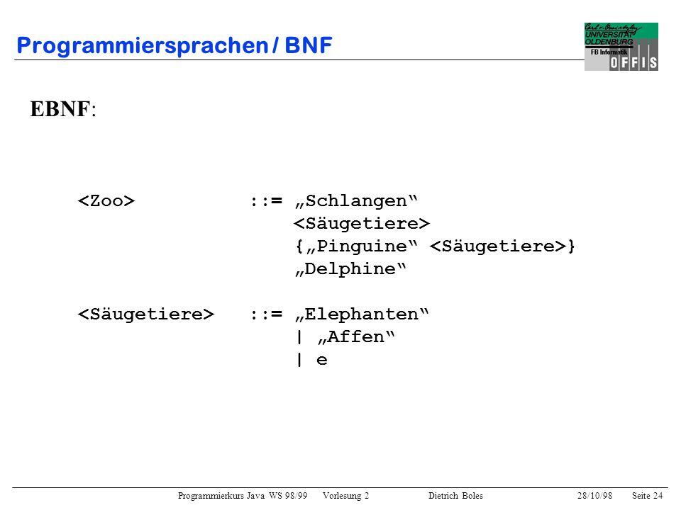 Programmierkurs Java WS 98/99 Vorlesung 2 Dietrich Boles 28/10/98Seite 24 Programmiersprachen / BNF EBNF: ::= Schlangen {Pinguine } Delphine ::= Eleph