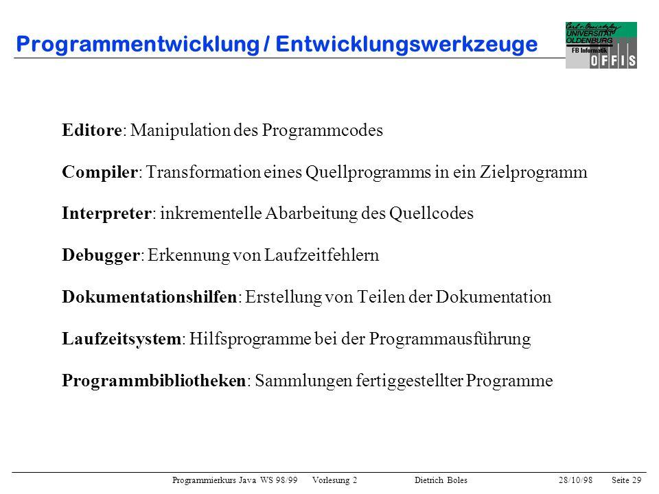 Programmierkurs Java WS 98/99 Vorlesung 2 Dietrich Boles 28/10/98Seite 29 Programmentwicklung / Entwicklungswerkzeuge Editore: Manipulation des Progra