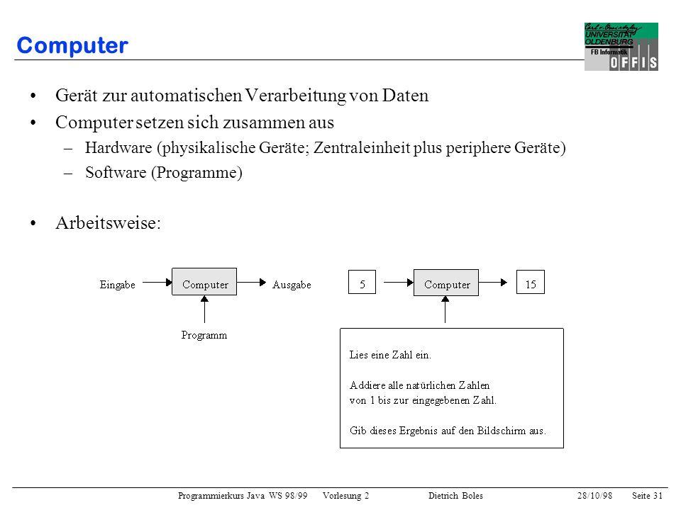 Programmierkurs Java WS 98/99 Vorlesung 2 Dietrich Boles 28/10/98Seite 31 Computer Gerät zur automatischen Verarbeitung von Daten Computer setzen sich