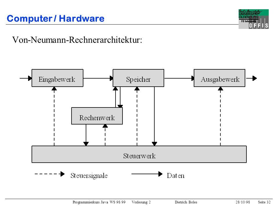 Programmierkurs Java WS 98/99 Vorlesung 2 Dietrich Boles 28/10/98Seite 32 Computer / Hardware Von-Neumann-Rechnerarchitektur: