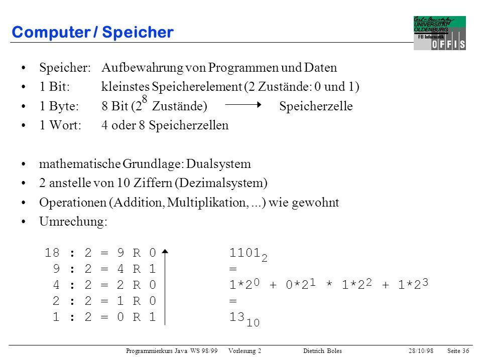 Programmierkurs Java WS 98/99 Vorlesung 2 Dietrich Boles 28/10/98Seite 36 Computer / Speicher Speicher:Aufbewahrung von Programmen und Daten 1 Bit:kle