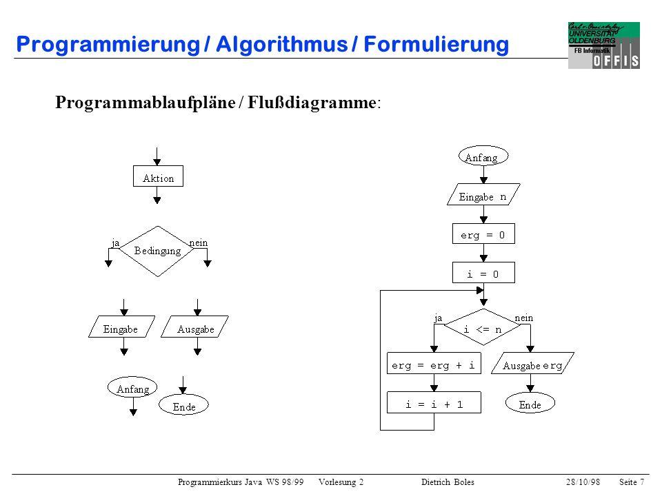 Programmierkurs Java WS 98/99 Vorlesung 2 Dietrich Boles 28/10/98Seite 7 Programmierung / Algorithmus / Formulierung Programmablaufpläne / Flußdiagram