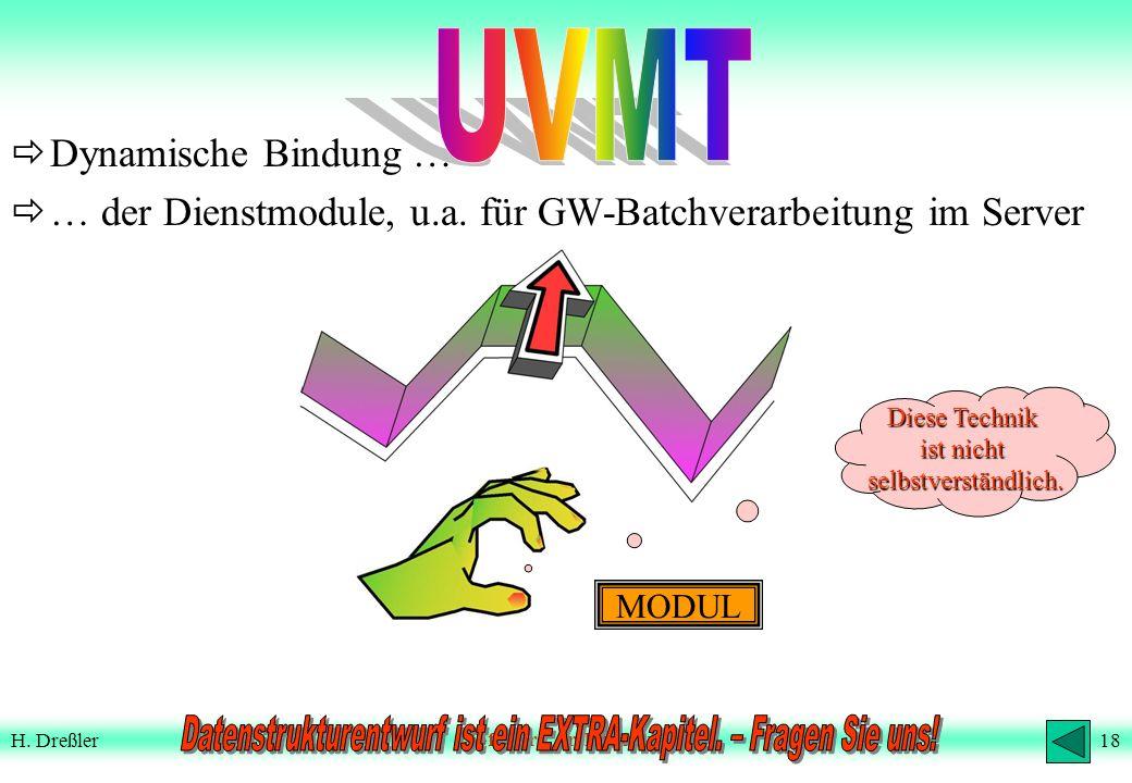 17H. DreßlerSoftware-Architektur Neues SW-Architekturkonzept (3) anderes Beispiel AM.92 VM.05 DM.67 … ruft nun auf: … SELECT und dynamische Bindung Zw