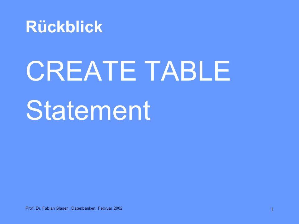 2 CREATE TABLE Allgemein: CREATE TABLE table_name (spaltendefinitionsliste [,tabellenintegritätsregelliste]); spaltendefinition ::= spaltenname typangabe [default-Klausel] [spaltenintegritätsregelliste] tabellenintegritätsregel ::= check-klausel | primary_key-klausel | unique-klausel | foreign-key-klausel Prof.