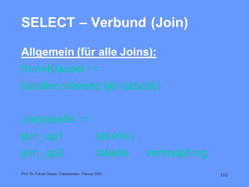 102 SELECT – Verbund (Join) Allgemein (für alle Joins): from-Klausel ::= tabellenreferenz {jointabelle} Jointabelle ::= join_op1 tabelle | join_op2 ta