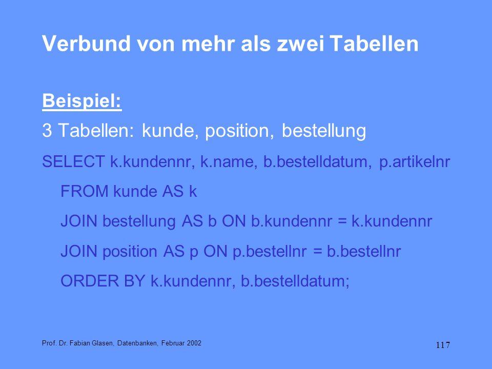 117 Verbund von mehr als zwei Tabellen Beispiel: 3 Tabellen: kunde, position, bestellung SELECT k.kundennr, k.name, b.bestelldatum, p.artikelnr FROM k