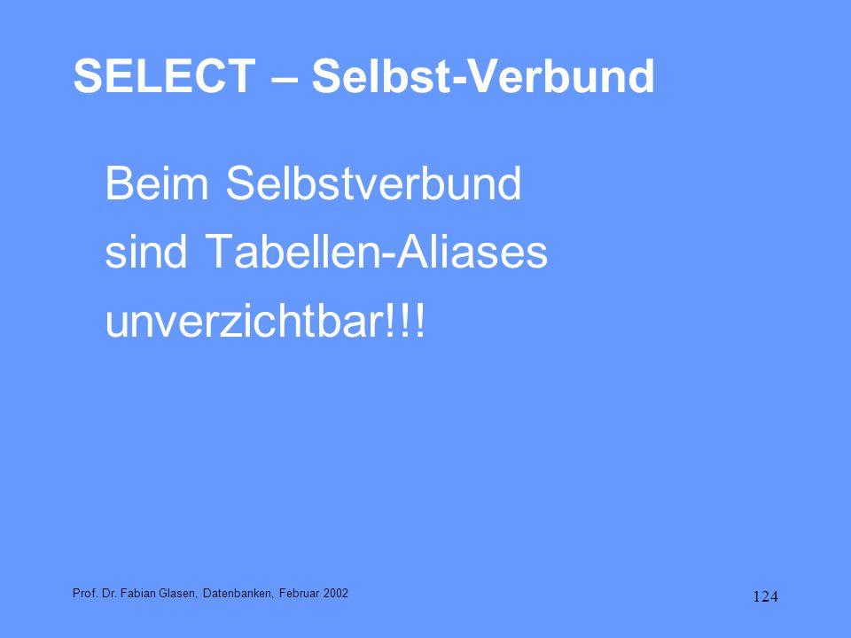 124 SELECT – Selbst-Verbund Beim Selbstverbund sind Tabellen-Aliases unverzichtbar!!! Prof. Dr. Fabian Glasen, Datenbanken, Februar 2002