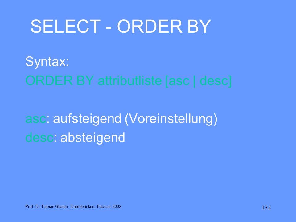 132 SELECT - ORDER BY Syntax: ORDER BY attributliste [asc | desc] asc: aufsteigend (Voreinstellung) desc: absteigend Prof. Dr. Fabian Glasen, Datenban