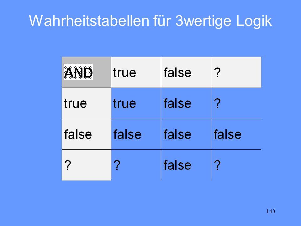 143 Wahrheitstabellen für 3wertige Logik