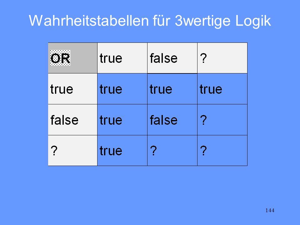 144 Wahrheitstabellen für 3wertige Logik
