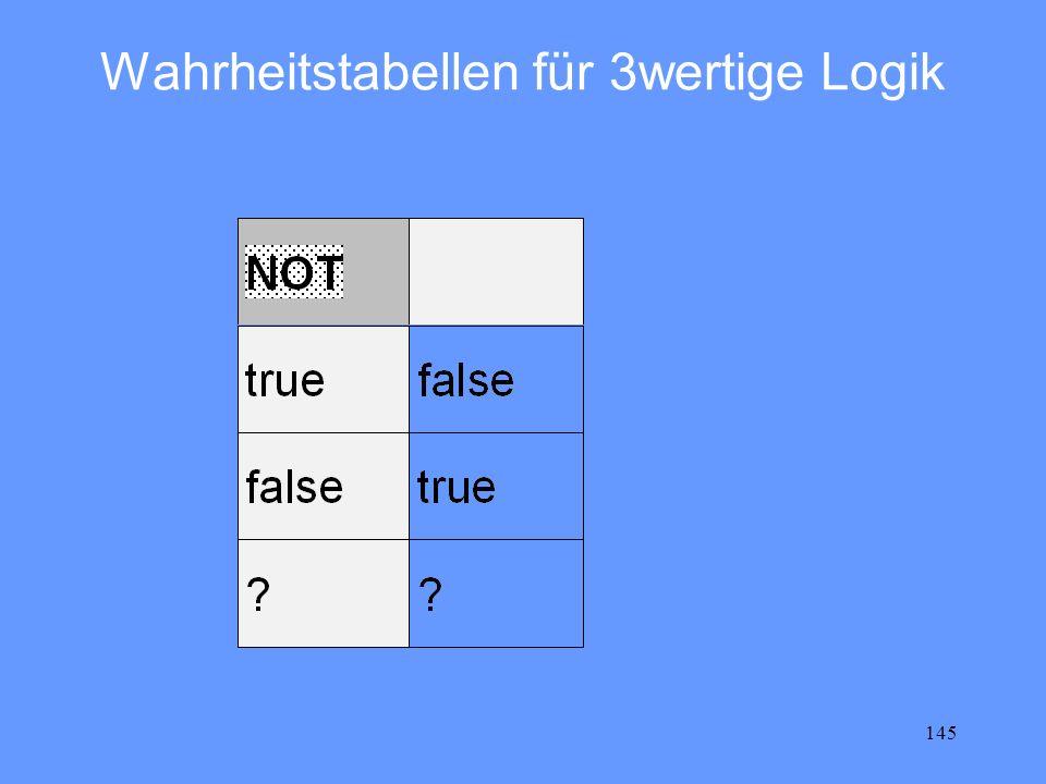 145 Wahrheitstabellen für 3wertige Logik