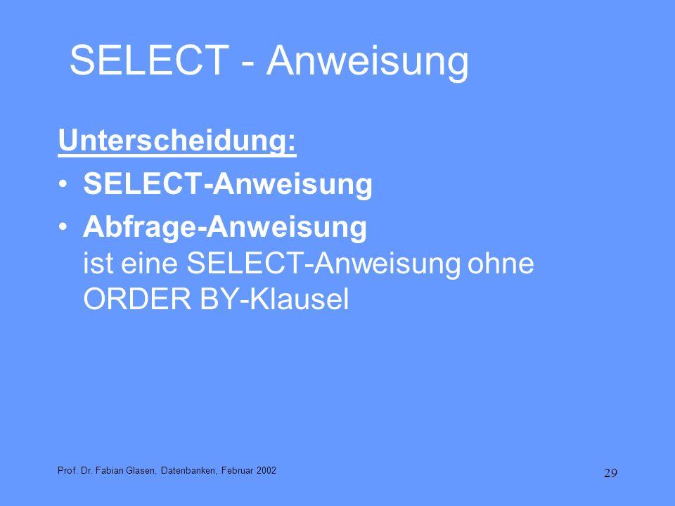 29 SELECT - Anweisung Unterscheidung: SELECT-Anweisung Abfrage-Anweisung ist eine SELECT-Anweisung ohne ORDER BY-Klausel Prof. Dr. Fabian Glasen, Date