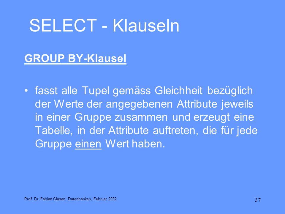 37 SELECT - Klauseln GROUP BY-Klausel fasst alle Tupel gemäss Gleichheit bezüglich der Werte der angegebenen Attribute jeweils in einer Gruppe zusamme