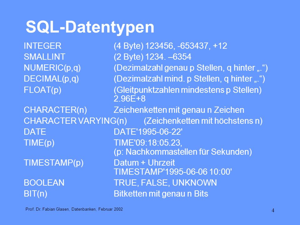 5 Übungsaufgabe Schemadefinition Vertriebsdatenbank (Web-Shop) in SQL Prof.
