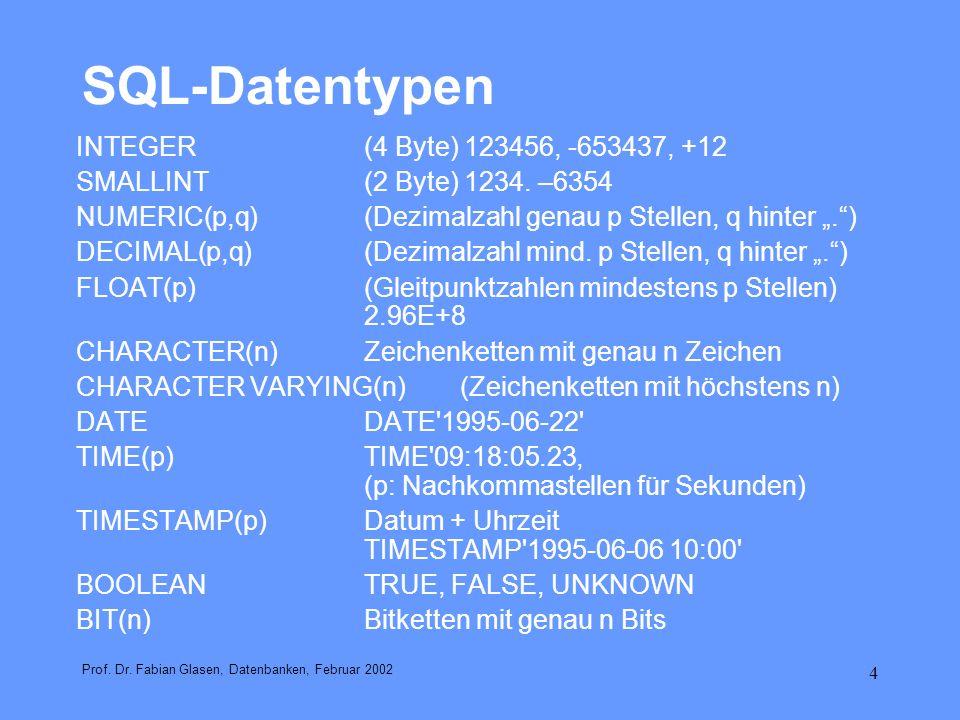 4 SQL-Datentypen INTEGER(4 Byte) 123456, -653437, +12 SMALLINT(2 Byte) 1234. –6354 NUMERIC(p,q)(Dezimalzahl genau p Stellen, q hinter.) DECIMAL(p,q)(D