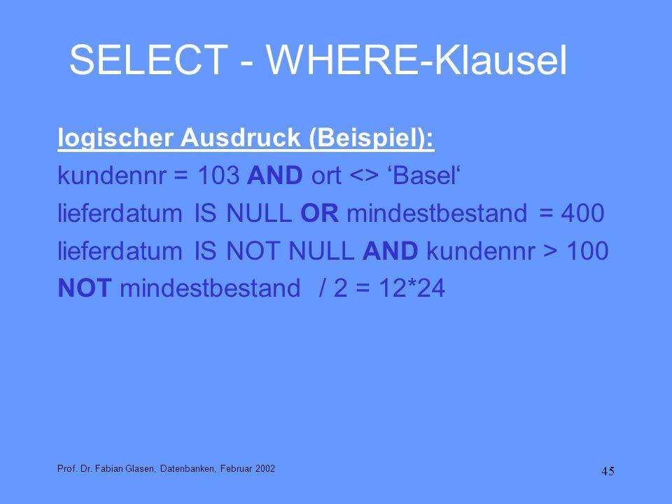 45 SELECT - WHERE-Klausel logischer Ausdruck (Beispiel): kundennr = 103 AND ort <> Basel lieferdatum IS NULL OR mindestbestand = 400 lieferdatum IS NO