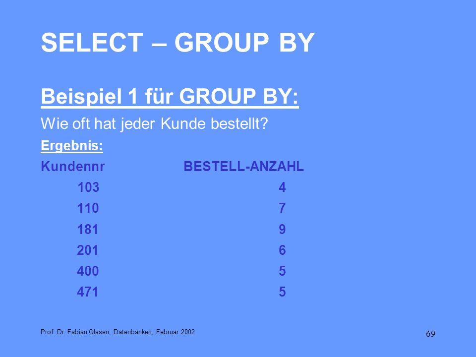 69 SELECT – GROUP BY Beispiel 1 für GROUP BY: Wie oft hat jeder Kunde bestellt? Ergebnis: KundennrBESTELL-ANZAHL 1034 1107 1819 2016 4005 4715 Prof. D