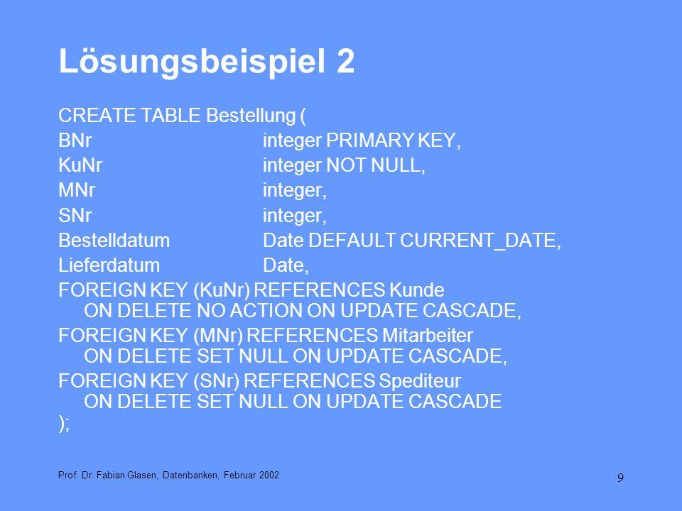 9 Lösungsbeispiel 2 Prof. Dr. Fabian Glasen, Datenbanken, Februar 2002 CREATE TABLE Bestellung ( BNrinteger PRIMARY KEY, KuNrinteger NOT NULL, MNrinte