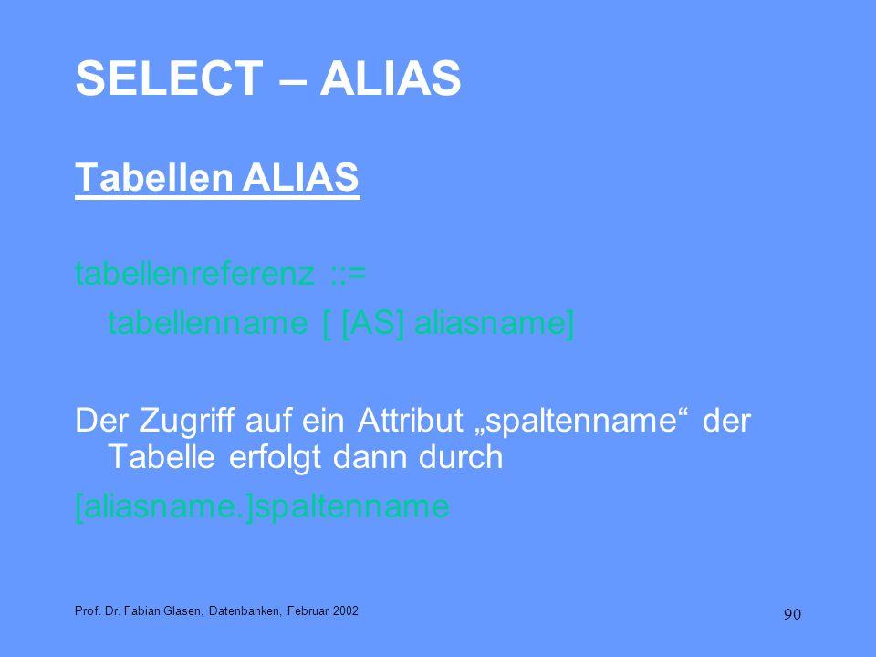 90 SELECT – ALIAS Tabellen ALIAS tabellenreferenz ::= tabellenname [ [AS] aliasname] Der Zugriff auf ein Attribut spaltenname der Tabelle erfolgt dann