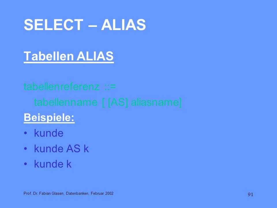 91 SELECT – ALIAS Tabellen ALIAS tabellenreferenz ::= tabellenname [ [AS] aliasname] Beispiele: kunde kunde AS k kunde k Prof. Dr. Fabian Glasen, Date