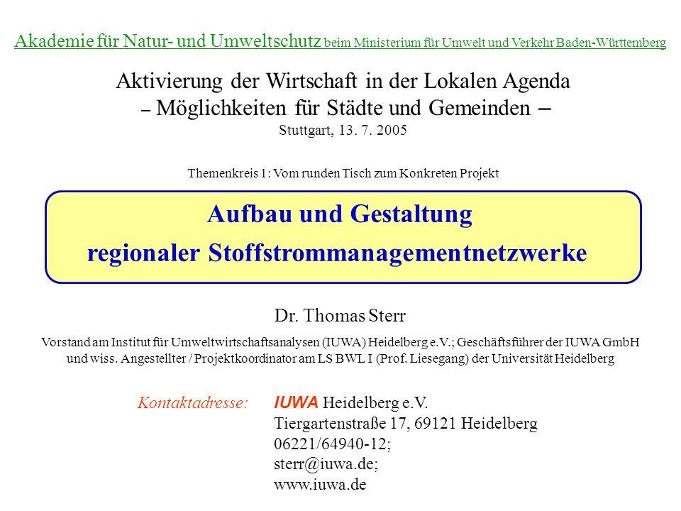 Aufbau und Gestaltung regionaler Stoffstrommanagementnetzwerke Dr. Thomas Sterr Vorstand am Institut für Umweltwirtschaftsanalysen (IUWA) Heidelberg e
