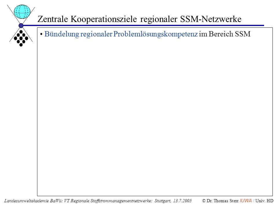 Zentrale Kooperationsziele regionaler SSM-Netzwerke Bündelung regionaler Problemlösungskompetenz im Bereich SSM Landesumweltakademie BaWü: VT Regional